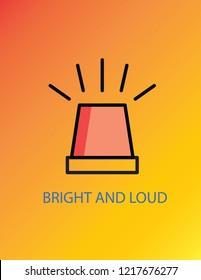 Car siren vector design.Bright and loud poster design.Siren buzzing vector icon.