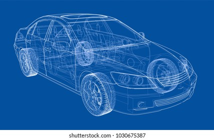 Car blueprint stock images royalty free images vectors car sketch vector rendering of 3d wire frame style the layers of malvernweather Gallery