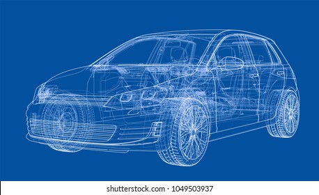 Car sketch. Vector rendering of 3d. Wire-frame style. The layers of visible and invisible lines are separated