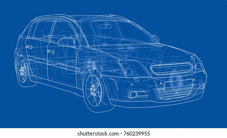 Car sketch. Wire-frame style.