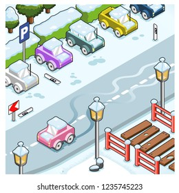 Car sliding on street covered with ice next to parking lot in wintertime (isometric illustration)