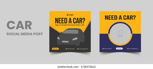 Car social media post template, rent a car social media banner design, editable social media marketing square flyer poster
