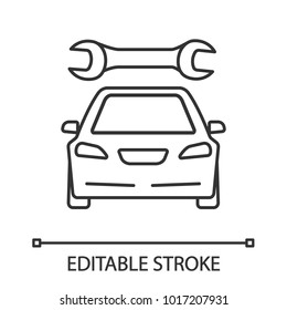 Car with spanner linear icon. Auto workshop. Thin line illustration. Repair service. Contour symbol. Vector isolated outline drawing. Editable stroke