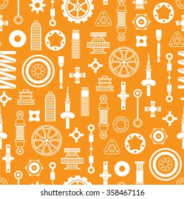 Car spare parts flat icons seamless pattern on orange background