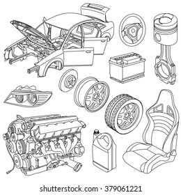 Car spare parts outline engine, body, wheel, piston, battery, seat, brake disc isometric