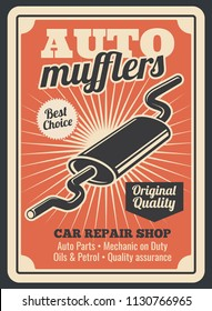 Car spare parts store for auto mufflers retro poster for automobile repair shop or service center. Vector vintage design of exhaust pipe for car diagnostics, spare parts or garage station