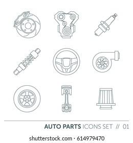 Car spare parts, thin outline design