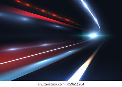 Car speed lines. Light trails tragic of long exposure abstract vector background. Light night road tunnel for car or train illustration