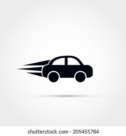 Car speeding vector icon