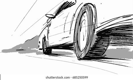 Car speeding wheel Vector sketch illustration for advertise, insurance company, storyboard, project