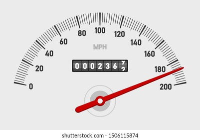 Car speedometer dashboard. Speed metre panel with odometer, miles counter and urgency dial or cars instrument fast dashboard. Mile gauge racing dash isolated concept. Car speedometer. Vector