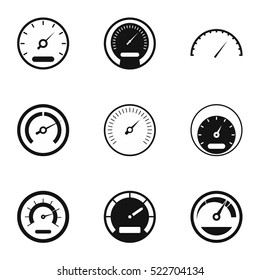 Car speedometer icons set. Simple illustration of 9 car speedometer vector icons isolated on white background