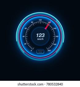 Car speedometer with illumination