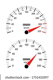 Car speedometer. Odometer on dashboard. Speed gauge with kilometer and mile. Counter of km, mph, mileage. Scale for fast race. Rpm on panel. Auto engine background. Limit of speed on sport car. Vector