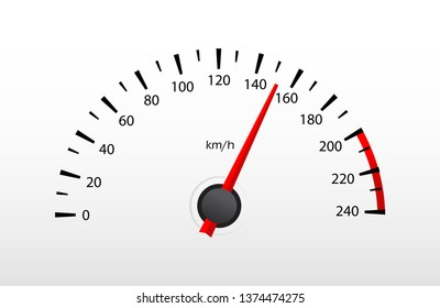 Car speedometer with red speed level scale isolated on white. vector illustration