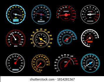 Car speedometer vector icons of dashboard speed meters. Gauges of auto motor vehicle instrument panel with glowing speedo dials, electronic and mechanical odometers, speed measure instruments design