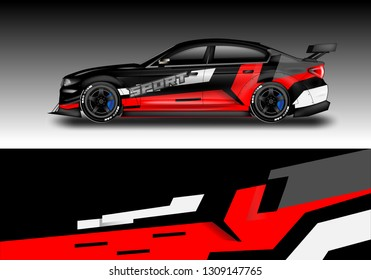 Car sporty wrap decal design vector . Background kit designs for vehicle, race car, rally, livery, simple