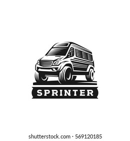 The Car Sprinter adventure monochrome vector