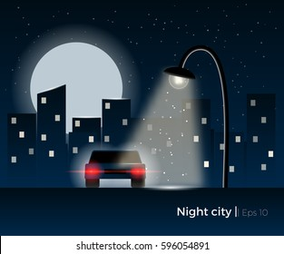Car standing under the lantern light, surrounded by a night city silhouette and shining moon. Stylish vector illustration with light effects and simple details.