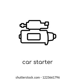 car starter icon. Trendy modern flat linear vector car starter icon on white background from thin line Car parts collection, outline vector illustration