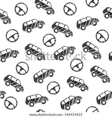 Car Car Steering Wheel Blackandwhite Pattern Stock Vector Royalty