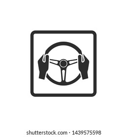 Car steering wheel and driver's hands icon symbol template black color editable. simple logo vector illustration for graphic and web design.