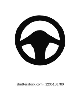 car steering wheel silhouette vector. isolated object.