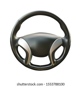 car steering wheel vector realistic illustration on white isolated background