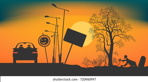 A car stopped on the road at night. Road signs Halloween. Bushes and a tree without leaves on a roadside. Zombie creeps out of a grave. Night during Halloween. Vector illustration EPS-8.