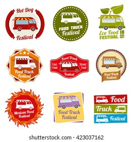 Car street food festival color labels set. Car food service labels. Van restaurant and mexican snack badges. Vector illustration