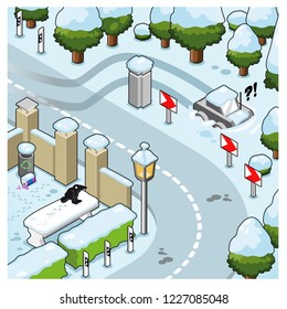 Car stuck in deep snow after losing track on slippery iced road close to a curve (isometric illustration)