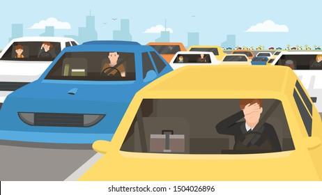 car stuck in traffic flat illustration