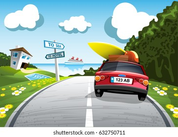 Car summer trip to the sea vector illustration