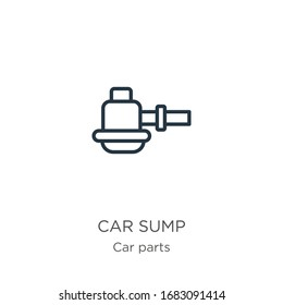 Car sump icon. Thin linear car sump outline icon isolated on white background from car parts collection. Line vector sign, symbol for web and mobile