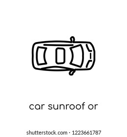 car sunroof or sunshine roof icon. Trendy modern flat linear vector car sunroof or sunshine roof icon on white background from thin line Car parts collection, outline vector illustration