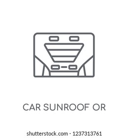 car sunroof or sunshine roof linear icon. Modern outline car sunroof or sunshine roof logo concept on white background from car parts collection.