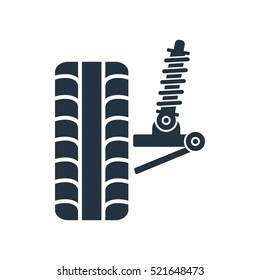 car suspension, wheel front, tire, isolated icon on white background, auto service, repair, car detail