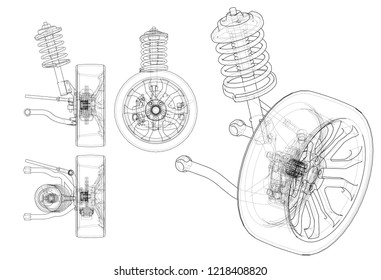 Car suspension with wheel tire and shock absorber. Vector rendering of 3d. Wire-frame style. The layers of visible and invisible lines are separated