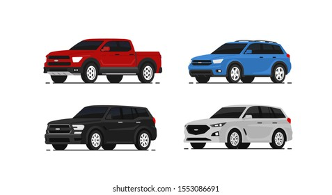Car suv collection. Auto side view. Red, blue, black and white automobile. Vector illustrayion in flat style.