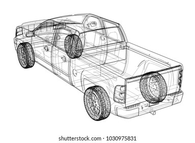 Car SUV drawing outline. Vector rendering. The layers of visible and invisible lines are separated