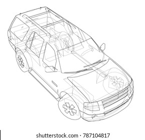 futuristic interior car suitable fransport people stock illustration Future Cars 2050 car suv drawing outline vector rendering of 3d the layers of visible and invisible