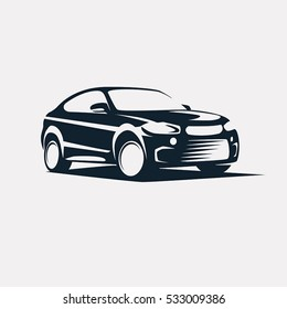 Car symbol logo template, stylized vector silhouette.