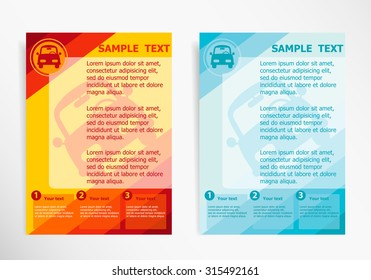 Car symbol on abstract vector modern flyer, brochure vector template.