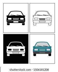 Car symbol presented as pictogram, black and white, line icons and flat icons. Set of transportation icons.