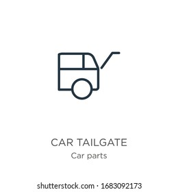 Car tailgate icon. Thin linear car tailgate outline icon isolated on white background from car parts collection. Line vector sign, symbol for web and mobile