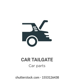 Car tailgate vector icon on white background. Flat vector car tailgate icon symbol sign from modern car parts collection for mobile concept and web apps design.