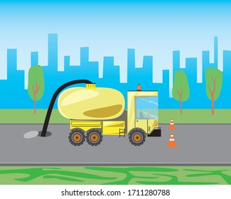 A car with a tank is cleaning the sewer manhole in the city or on the road. Stock vector flat illustration of a yellow truck with a sewer tanker as a city service concept. Diesel heavy machine