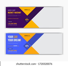 Car taxi rent sale social media post facebook cover timeline web ad banner template