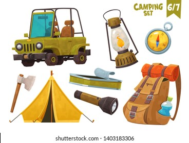 Car tent axe compas backpack flashlight camping set vector