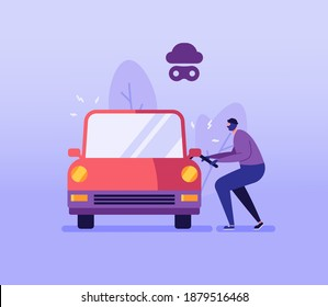 Car Theft Vector illustration. Auto Thief in Black Mask Breaking and Stealing Car without Car Insurance. Concept of Car Insurance Services, Stolen Auto, Road Accident for Web Design, UI, Banners